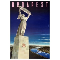 Original Vintage Travel Poster Budapest Hungary Freedom Statue Danube City View