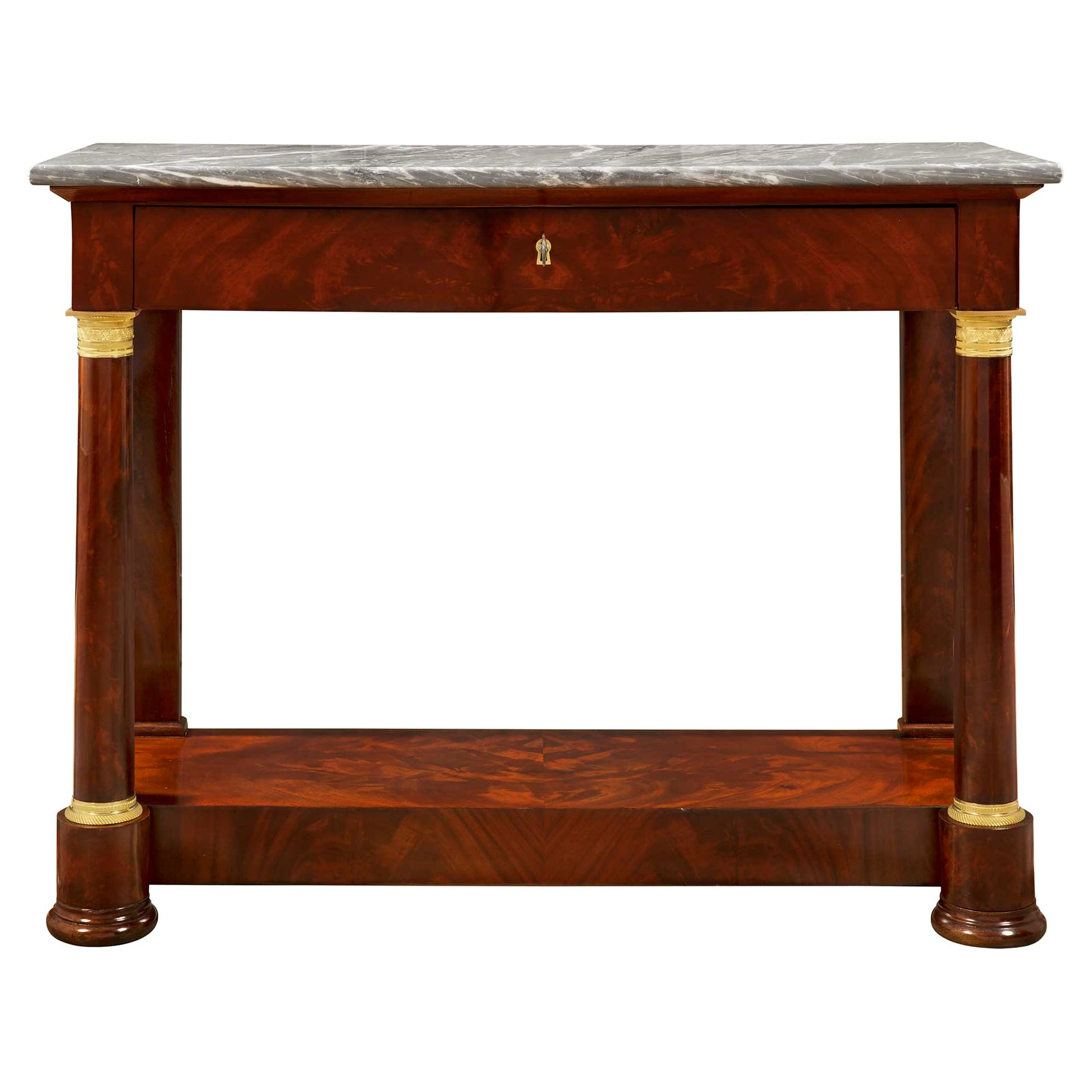 French 19th Century Empire Style Flamed Mahogany, Ormolu and Marble Console