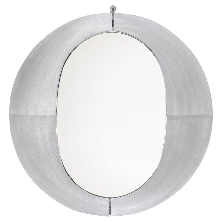 Sculptural Aluminum Framed Mirror by Artist Lorenzo Burchiellaro, Italy, 1970s For Sale
