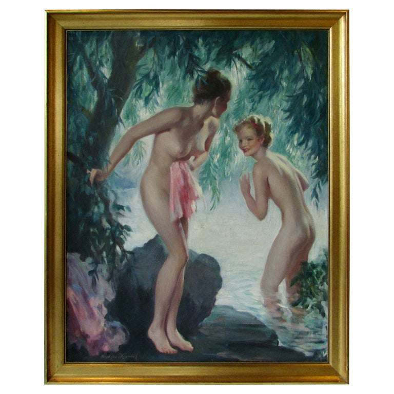 Bradshaw Crandell Original Water Nymph Illustration Art for Iodent Toothpaste For Sale