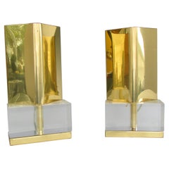 Pair of Chapman Cedric Hartman Style Table or Shelf Top Sconces on Lucite Base