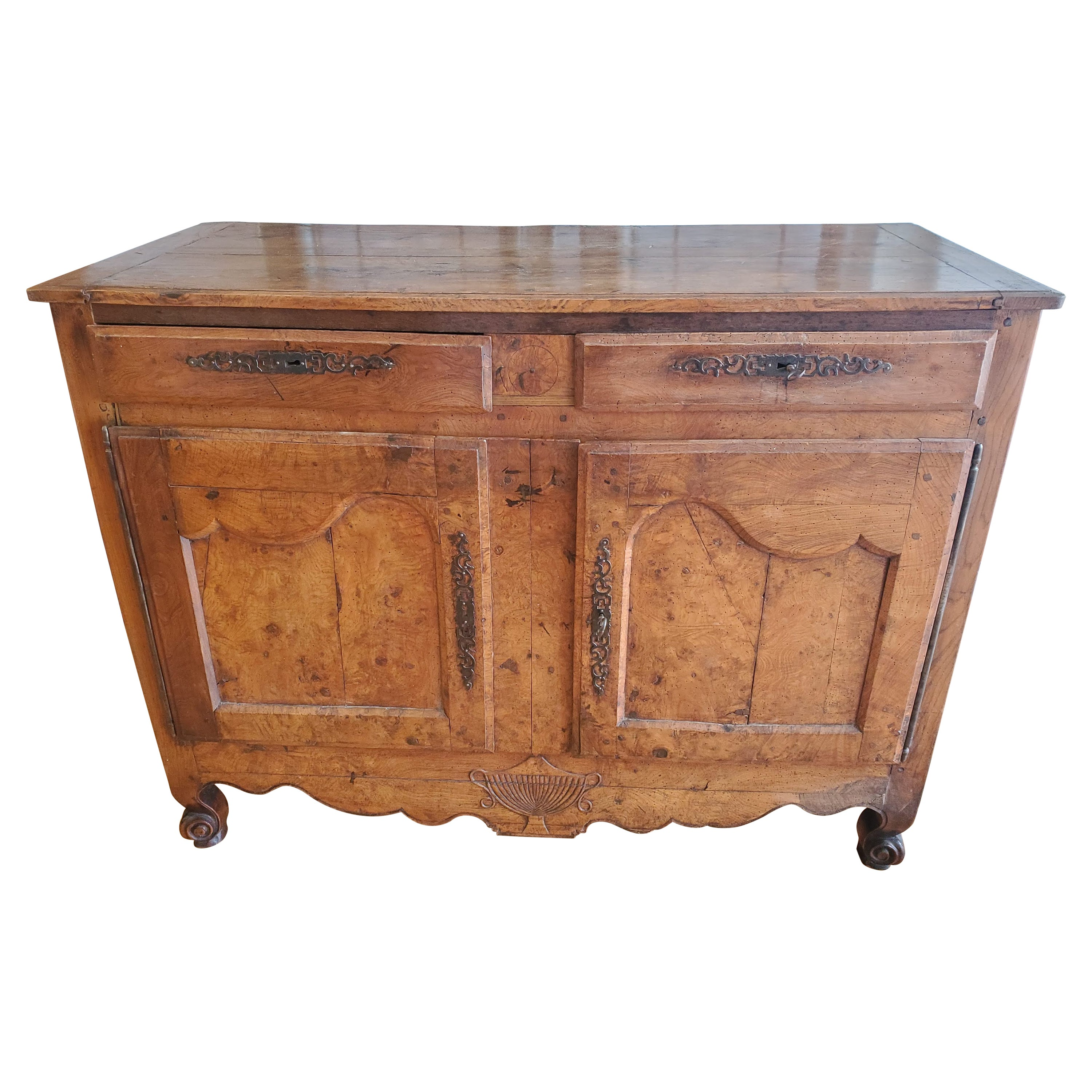 Early 19th Century French Provincial Burled Ash Buffet