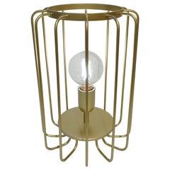 Cosulich Interiors Minimalist Italian Futurist Gold Steel Open Table Lamp