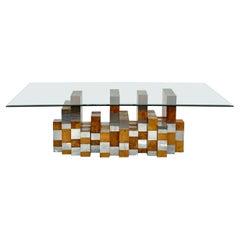 Paul Evans Cityscape Burl, Chrome, and Glass Skyline Dining Table
