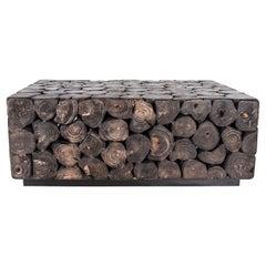Ebonized Lychee Wood Slice Coffee Table