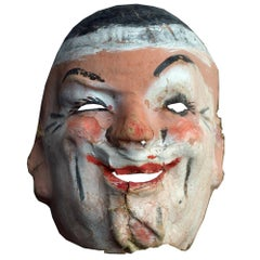 Mid 20th Century 5 French Papier Mache Theatre Masks