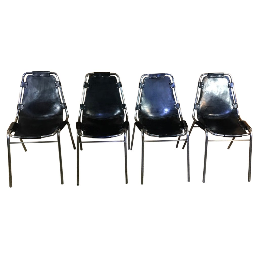 Les Arcs Black Stained Chairs Chosen by Charlotte Perriand, 1960s, Set of Four