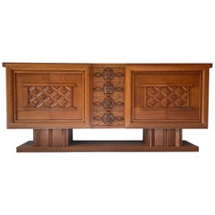 Large Sideboard of Oak by Maurice & Leon Jallot, 1930-40
