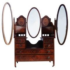 Edwardian Mahogany Triple Mirror Vanity Dresser