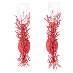 Pair of Faux Red Coral Wall Sconces