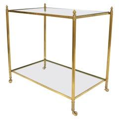 Maison Jansen Bronze 2-Tier Neoclassical Side Table, Serving Cart Casters France