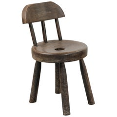 Rustic 19th Stool Made of Solid Wood