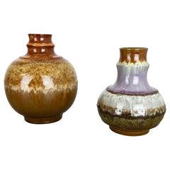 Set of 2 Fat Lava Ceramic Pottery Vase by Strehla Ceramic, GDR Germany, 1970s