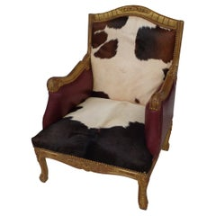 Louis XV Style Lounge Chair in Cowhide