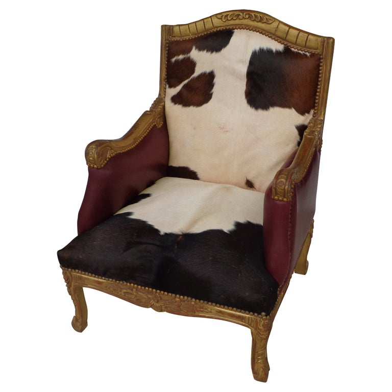 Louis XV Style Lounge Chair in Cowhide For Sale