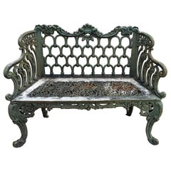 """Rococo Revival and Gothic Revival Cast Iron """"White House Rose Garden Bench"""""""