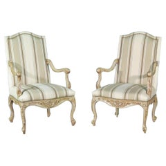 Pair Carved Painted French Louis XV Style Armchairs, Circa 1960