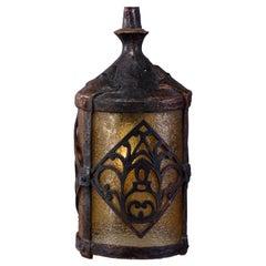 Antique Arts & Crafts Bronzed Lantern Form Pendant Light with Amber Glass, c1910