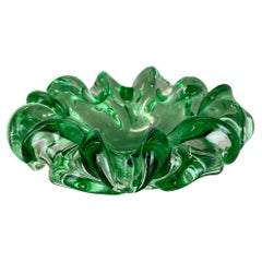 """Large Murano Glass """"Floral"""" Bowl Element Shell Ashtray Murano, Italy, 1970s"""