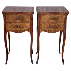 Pair of French Marquetry Nightstands with Two Drawers and Bronze Hardware