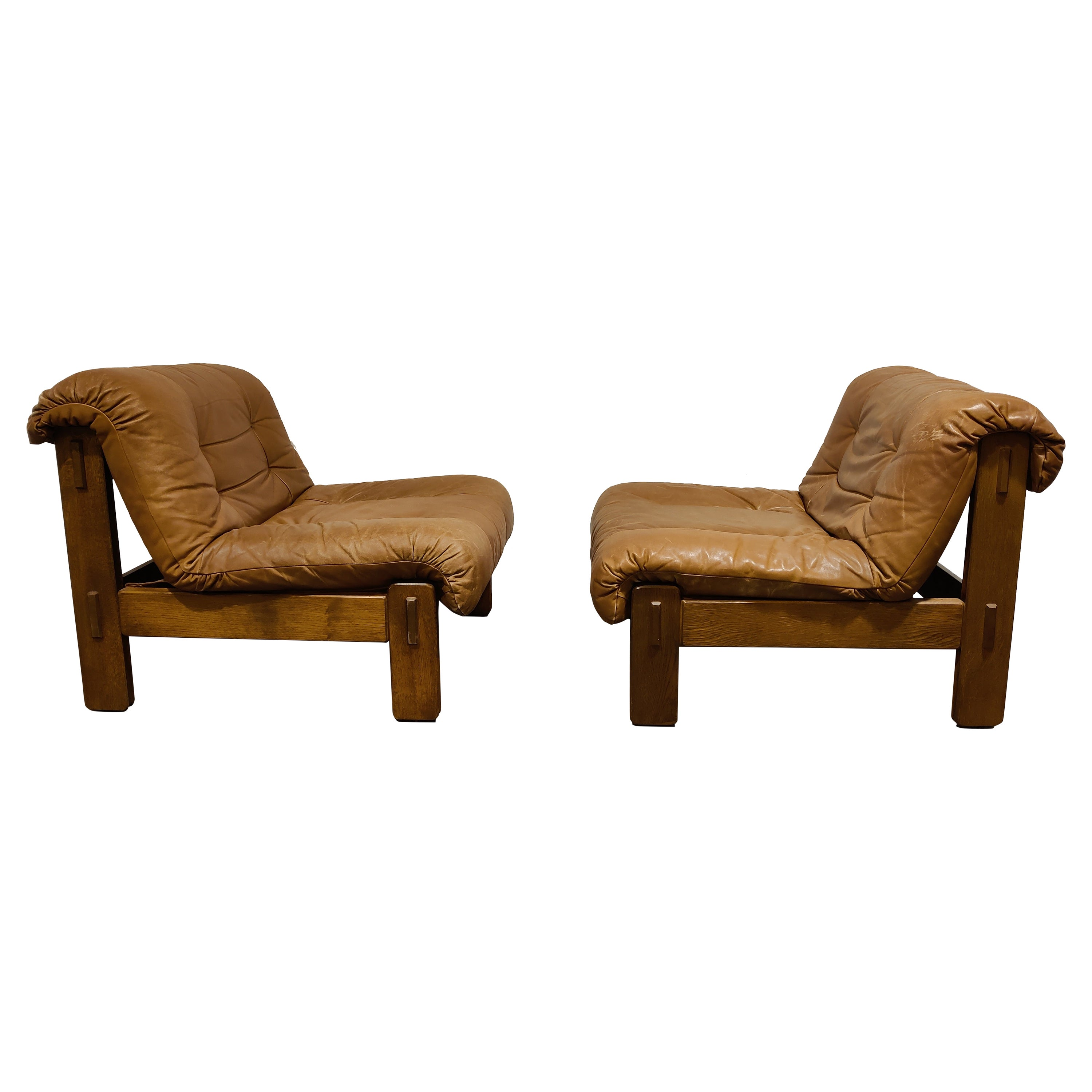 Vintage Leather Lounge Chairs, 1970s