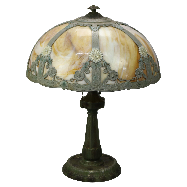 Antique Arts & Crafts Slag Glass Table Lamp, Bradley & Hubbard School, c1920