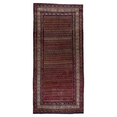 Antique Persian Saraband Gallery Rug, Red Paisley Field, Circa 1920s