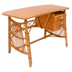 Bamboo Rattan Vintage French Desk, France, 1970's