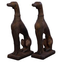 Pair Life Size Cast Hard Stone Whippet Garden Statues in Bronzed Finish, 20th C