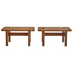 Borge Mogensen Set of Side Tables/Benches in Oak and Rattan Cane, 1950s, Denmark