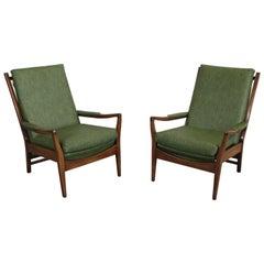 Pair of Mid-Century Modern Open Arm Walnut Lounge Chairs