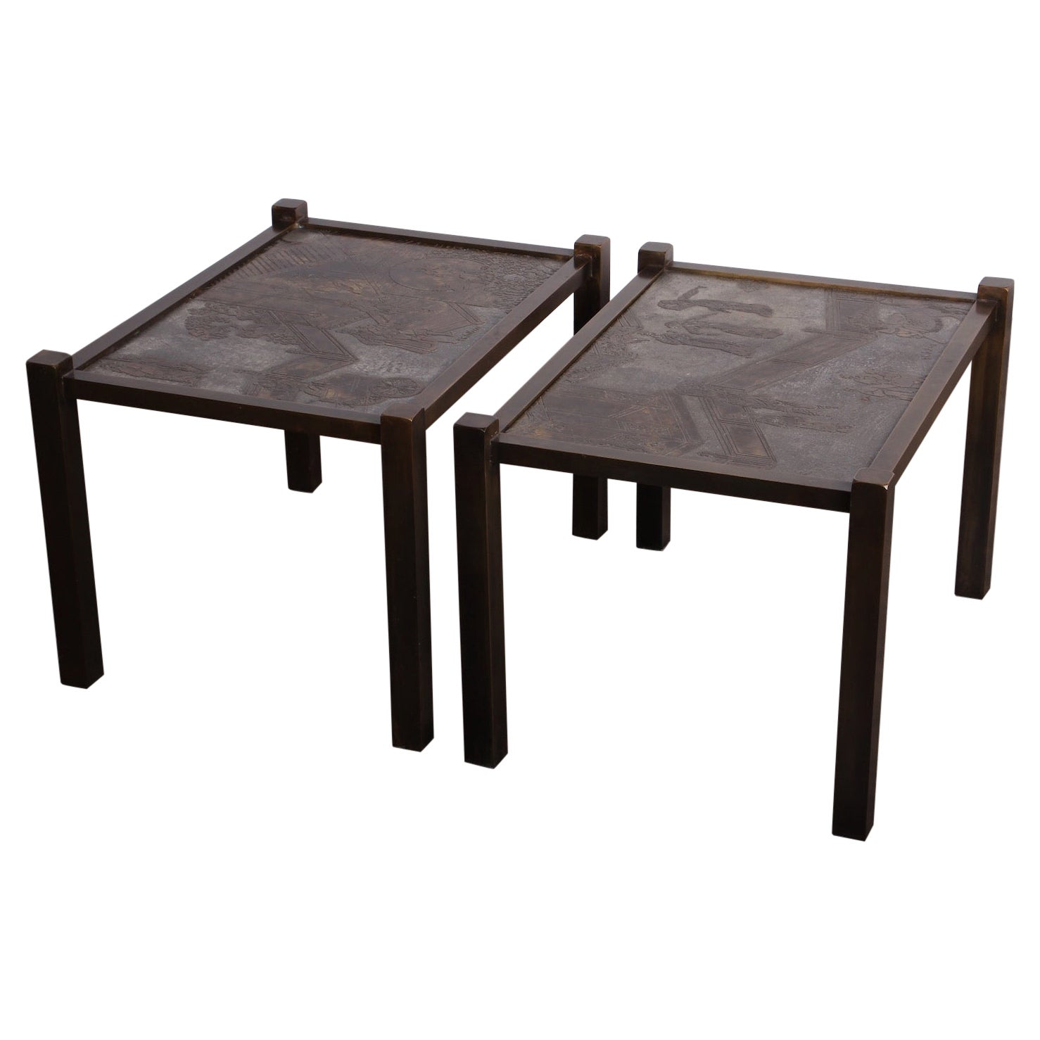 """Pair of """"Tao"""" Side Tables by Philip and Kelvin LaVerne"""