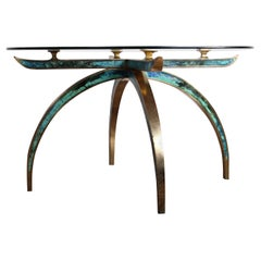 Pepe Mendoza Brass and Ceramic Inlay Dining Table