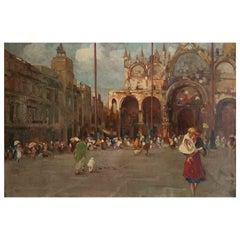 """Bozzato Attilio Achille '1886 -1954' """"Saint Mark's Square in Venice"""" Panel"""