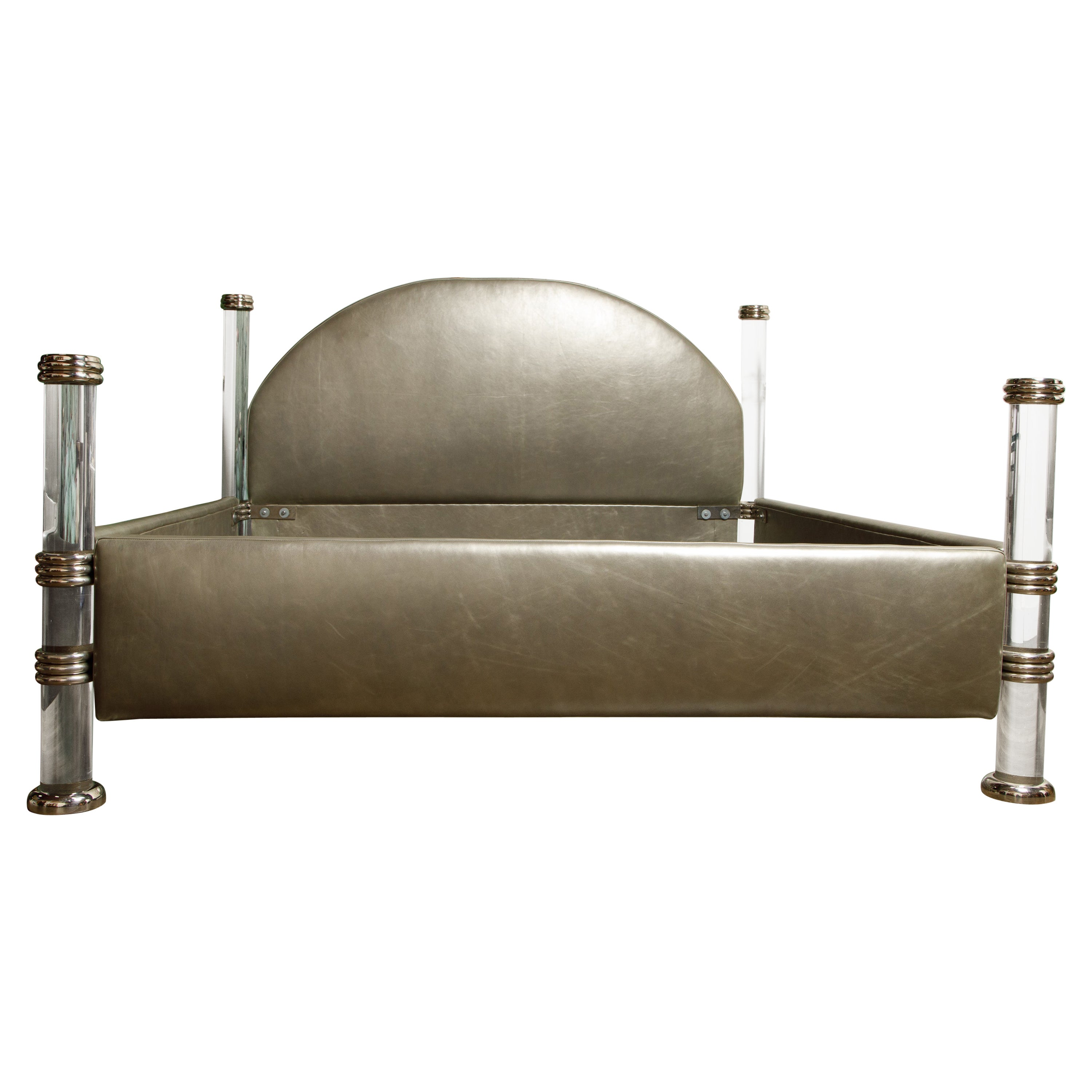 Marcello Mioni Hollywood Regency Leather and Lucite King Size Bed, Italy c 1970s