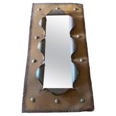 Vintage Brutalist Torch-Cut Mirror, Mexico City, 1970's
