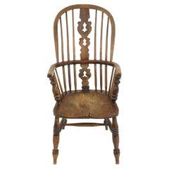 Antique Victorian Chair, Ash + Elm, Windsor Arm Chair, Scotland, 1840