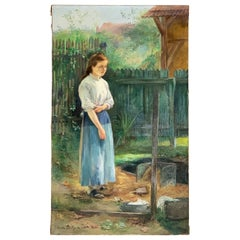 """Bellynck Hubert-Emile '1859-1920' """"Young girl at the wash house"""""""