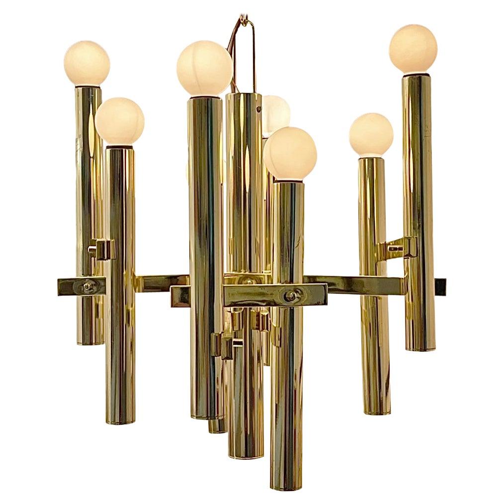 Gaetano Sciolari Style Brass Chandelier