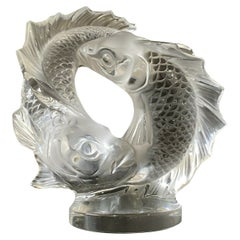 Lalique Double Koi Fish Crystal Glass Table Sculpture