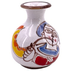 Petite Ceramic Hand-Painted Vase by DeSimone, Italy