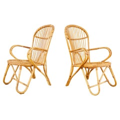 Pair of Midcentury French Bamboo Rattan Lounge Chairs
