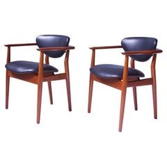 Pair of Signed Vintage Finn Juhl '109' Armchairs in Teak, Leather & Brass, 1946