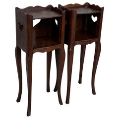 French Oak Pair of Nightstands with Heart Open Shelf, Cabinet, 1890s