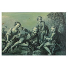 """French School XVIIIth Century """"The children in the park"""" Large Grisaille"""