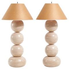 Pair of Graphic Postmodern Large Ceramic Lamps, 1992