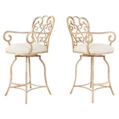 Pair of Spanish Colonial Style Painted Iron Garden Counter Bar Stools
