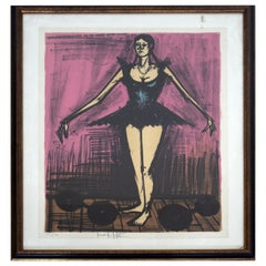 Mid Century Modern Framed Bernard Buffet Signed Litho from Mon Cirque Suite 60s