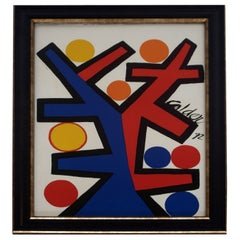 Mid Century Modern Alexander Calder Signed Asymetrie 1972 Lithograph Framed