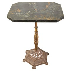 English Victorian Bronzed Marble Top Drinks Table